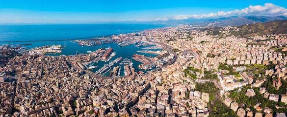 Papiers peints Cote Genoa port aerial panoramic view
