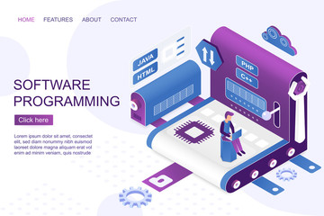 Software development isometric landing page vector template