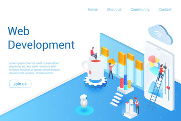 Web development isometric landing page vector template