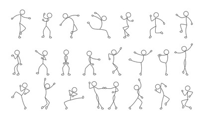 dancing people, freehand drawing, sketch, stick figure man pictogram, isolated silhouettes on white background