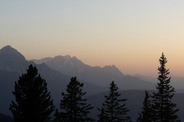 Aluminium Prints Sonnenuntergang über Mittenwald, von der Hochlandhütte aus