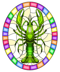 Illustration in stained glass stile with abstract green crayfish on a light background , oval picture in a bright frame