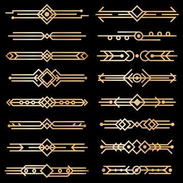 Art deco dividers. Gold deco design lines, golden book header borders. 1920s victorian vintage elements on black. Vector isolated set