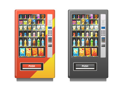 Vending machine. Snacks sandwich biscuit chocolate drinks juice beverages pack, sale retail mechanism, flat vector illustration