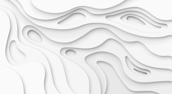 Abstract paper cut white background. Topographic canyon map light relief texture, curved layers and shadow. Paper art 3d vector banner