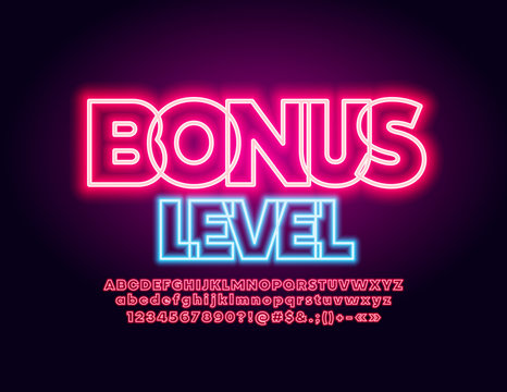 Vector neon banner Bonus Level with red glowing Font. Lighting electric Alphabet Letters, Numbers and Symbols