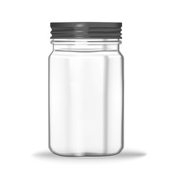 Glass mason jar isolated on white background, vector mock-up. Clear food container with screw metal lid, realistic illustration