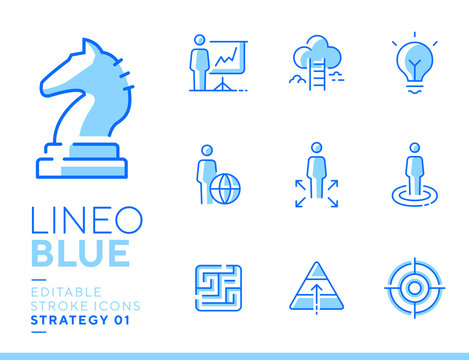 Lineo Blue - Strategy and Management line icons