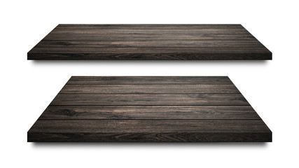 Black wooden shelves isolated on white background. Blank wood shelf or product display. ( Clipping path )