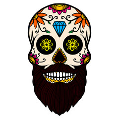 Hand drawn mexican bearded sugar skull isolated on white background. Design element for poster, card, banner, t shirt, emblem, sign. Vector illustration