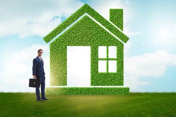 Businessman in green housing concept