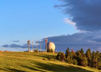 Radom radar dome and radio antennas on Wasserkuppe mountain, Poppenhausen, Hesse, Germany