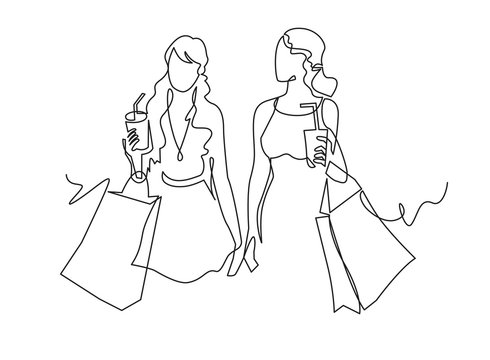 Continuous one line drawing two woman with shopping bags in their hands.