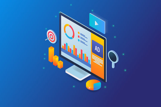 Data analytics showing on  a isometric computer, digital advertising, programmatic media ad analysis, with icons.