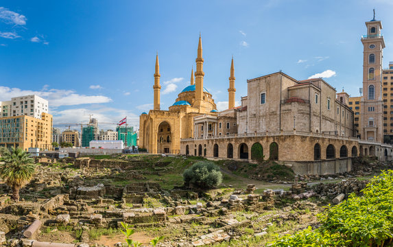 Saint Georges Maronite Cathedral and Mohammed Al-Amin Mosque side by side in Beirut Lebanon