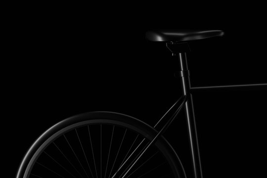 Light and shadow of bicycle part in the darkness. 3D rendering.
