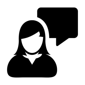 Question icon vector male person profile avatar with speech bubble symbol for discussion and information in flat color glyph pictogram illustration