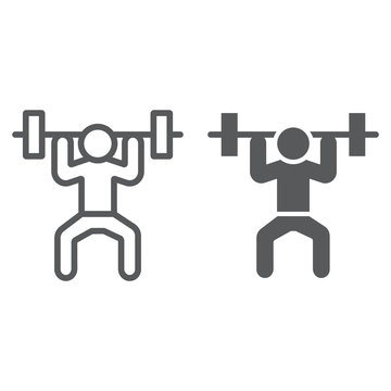 Weightlifter line and glyph icon, sport and bodybuilding, weightlifting sign, vector graphics, a linear pattern on a white background.