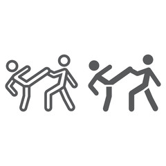 Taekwondo line and glyph icon, sport and martial, fighters sign, vector graphics, a linear pattern on a white background.