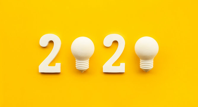 2020 creativity inspiration concepts with text nuber and lightbulb on color background