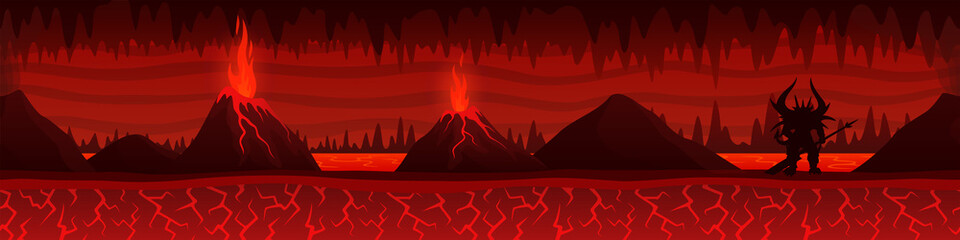 Burning hell landscape with volcanoes and demon