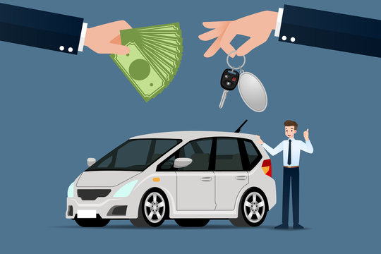 The car dealer's make an exchange, sale, rent between a car and the customer's credit card. Vector illustration design.