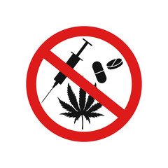 No drugs sign. Vector illustration. Isolated.