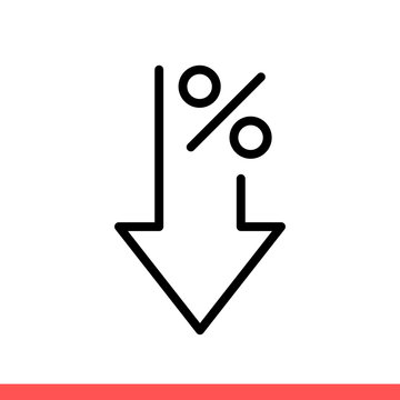 Down percent vector icon