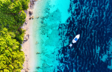 Yacht on the water surface from top view. Turquoise water background from top view. Summer seascape from air. Croatia. Travel - image