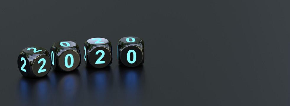 2020 - Schwarze Würfel blau beleuchtet