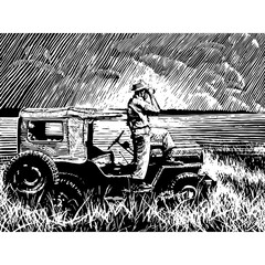 Man with binoculars, standing on a jeep, looking across a plain.