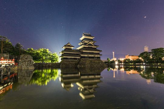 Matsumoto - May 24, 2019: Night shot of the castle of Matsumoto, Japan