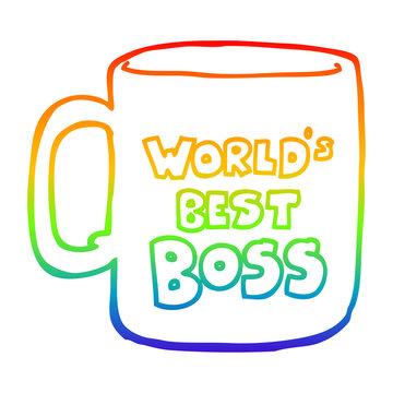 rainbow gradient line drawing worlds best boss mug