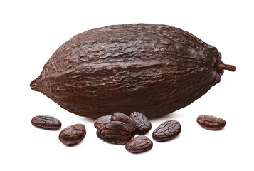 Cocoa pod and roasted beans isolated on white background. Horizontal composition