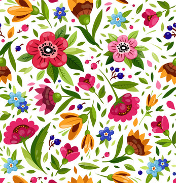 Vector seamless flower pattern. Cute floral pattern with colorful flowers, berry, leaves. Bright, warm summer pattern.