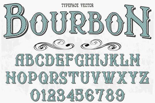Retro Typography Vector Illustration.Outlined Typeface.