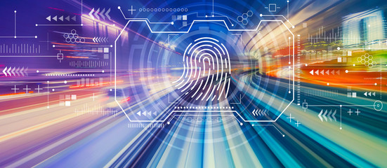 Fingerprint scanning theme with abstract high speed technology POV motion blur