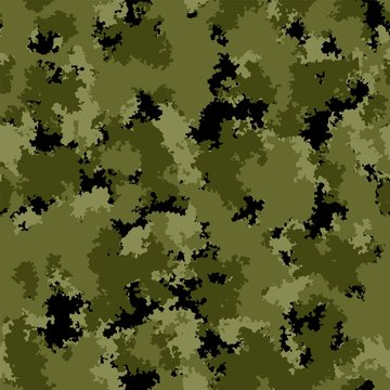 Fashion seamless pattern with forest, woods, landscape, camouflage colors