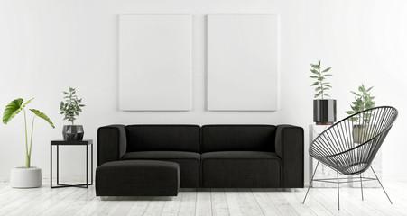 Mock up poster with dark sofa, Scandinavian design, 3d render, 3d illustration