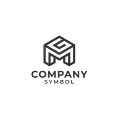 Fototapeta initial/monogram letter mg gm logo design obraz
