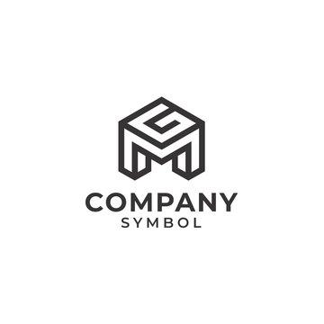 initial/monogram letter mg gm logo design