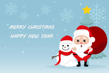 Character Cartoon Cute Christmas Day , Merry christmas happy new year festival , santa claus with gift box in bag and snow man , christmas tree snowflake and text , invitation card vector illustration