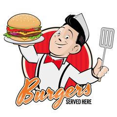 happy chef serving a delicious burger sign