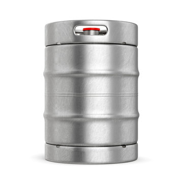 Metal beer keg isolated on white background