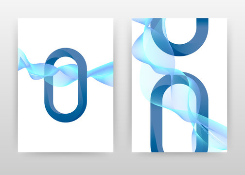 Blue swirl waved lines element with o letter design for brochure, flyer, poster. Blue o letter with waving background vector illustration for flyer, leaflet, poster. Abstract A4 brochure template.
