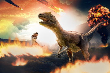 dinosaurs extinction due to asteroids Wall mural