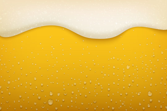 Beer foam. Realistic craft beer bubbles condensate and flowing foam, beer festival and party poster background. Vector wet mug brewery flyer