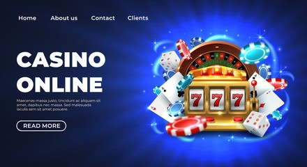 Casino 777 slot machine landing page template. Gambling Casino landing page. Gambling roulette website big lucky prize, realistic 3D vector illustration 777 slot machine template. Happy gambler play