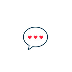 Speech bubble with hearts love icon, Vector isolated illustration