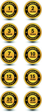 High quality golden year warranty badge, sign, seal, label, stamp set/kit.